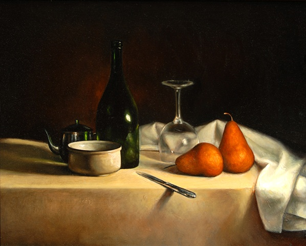 Still Life with Pears and Bottle