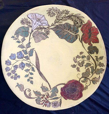 Carved Fruit Bowl with Flowers