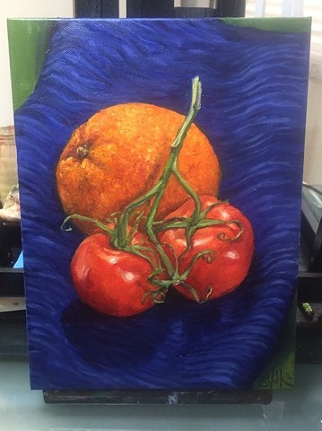 Still Life with Orange and Tomatoes