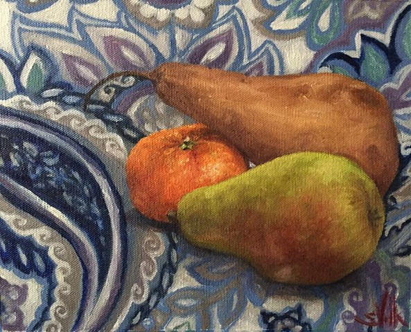 Still Life with Tangerine and Pears