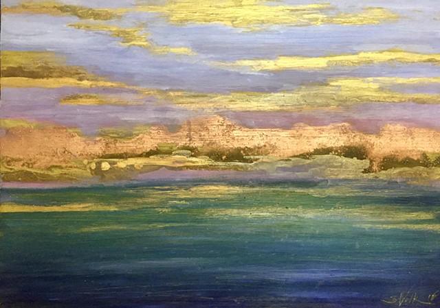 Sunrise on Goldleaf Abstract