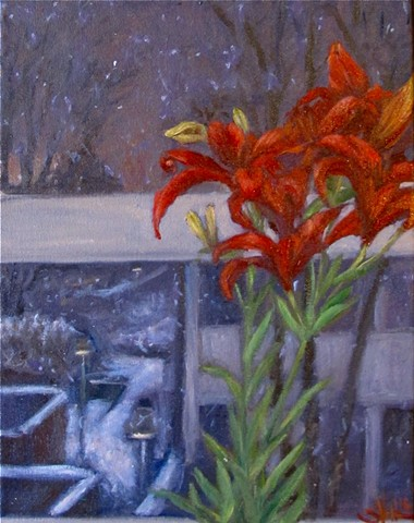 Study of Lilies on a Snowy Night