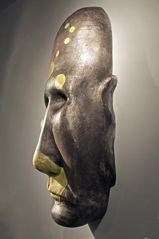 sculpture, metal casting, figurative, self portrait