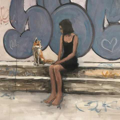 Girl and Graffiti Oil Study 3... with a fox!