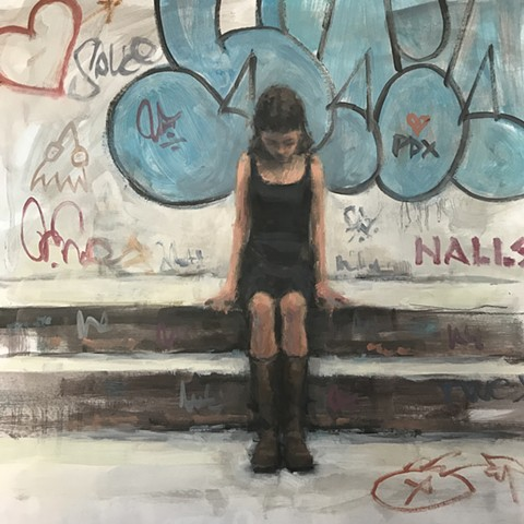 Girl and Graffiti Oil Study 2