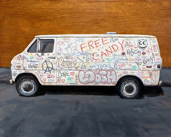 'Free Candy' on the See See Econoline.