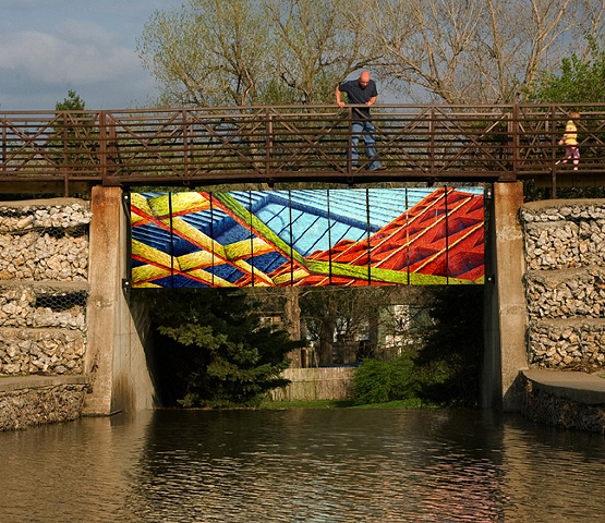 This painting was a temporary installation commissioned by the City of Blue Springs, MO. The ArtsKC Fund Inspiration Grant helped with installation materials to make this project possible.