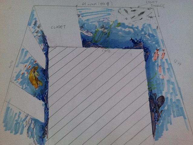 Underwater Preliminary Mural Sketch