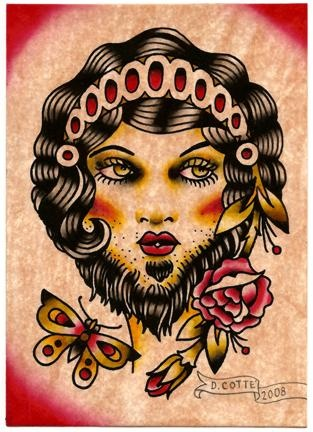 bearded lady and butterfly