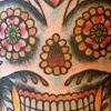 flaming sugar skull and roses