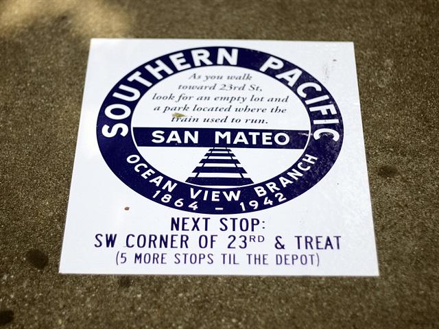 Vinyl marker installed along the original train route.