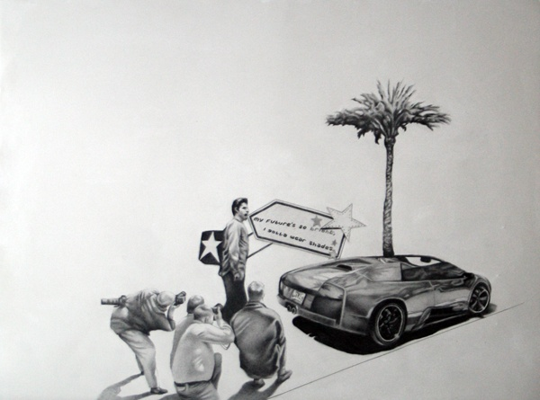 Drawing of performance with paparazzi on Rodeo Drive, Beverly Hills.