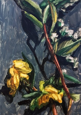 Oil painting on Yupo mounted panel. direct obsesrvation en plein air williamsburg, Brooklyn new york artist landscape painting female painters contemporary yellow nature fall painterly expressive beautiful interior design decor modern living art collector