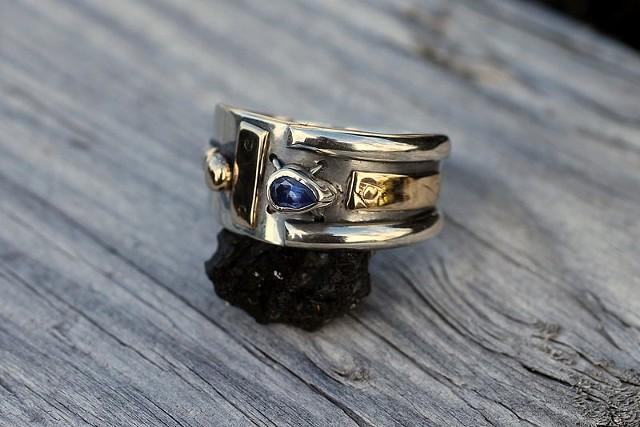 sterling silver, 14K gold, Montana sapphire