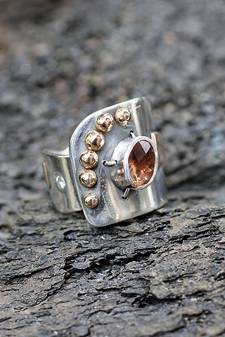 sterling silver, 14K gold, Oregon sunstone, recycled diamonds