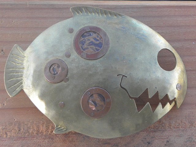 "brass and copper, ""Burtinesque"" fish belt buckle"