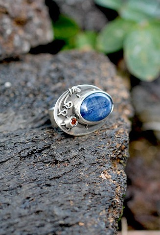 sterling silver, kyanite, spessartite garnet