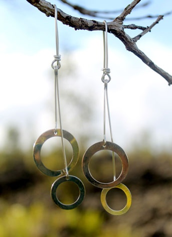 Silver Disc Earrings Series #19