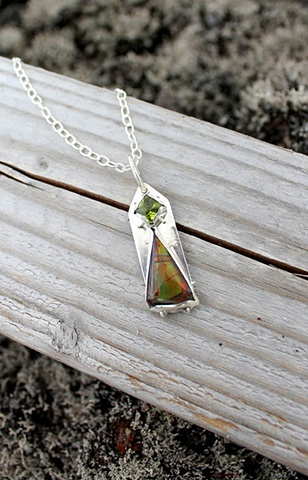 ammolite and peridot pendant