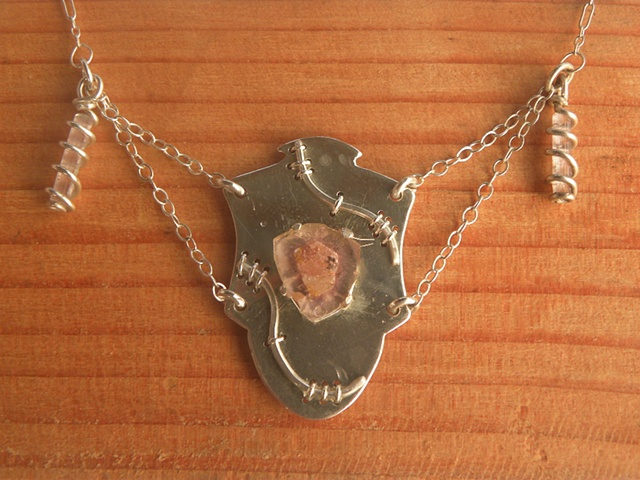 sterling silver necklace featuring tourmaline slab and two tourmaline crystals
