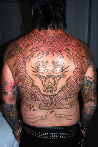 Jacoby's backpiece, in progress. Started on the road during the fall Nickelback tour.
