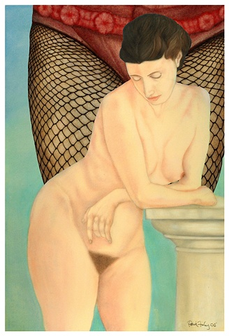Classical Figure with Column and Fishnets