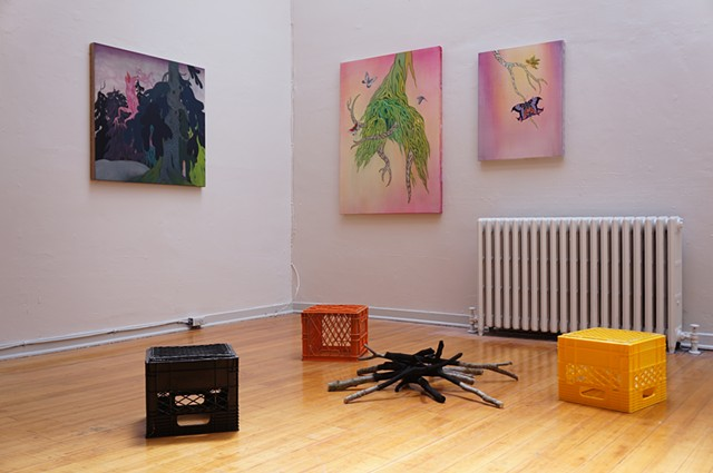Paintings by Rick Leong, Sculpture by Jeremy Herndl