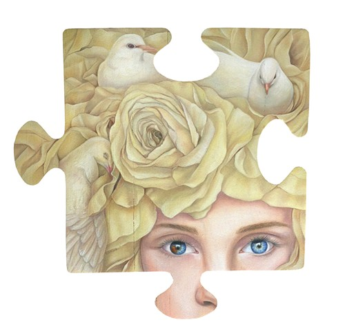 oil painting on wood. Autism awareness charity piece.