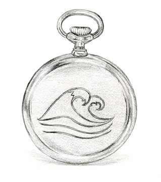 pocket watch with wave inscription