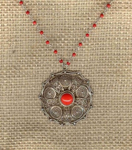 Filigree Medallion with Coral