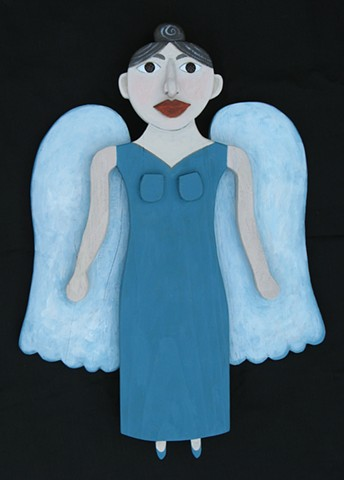 Angel with Sparkling eyes and a Blue Dress