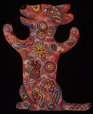 (Sold) HaHappy dancing dog with Folk-Funk Sun symbol motif inspired by the Neolithicc Passage Tomb at New Grange.