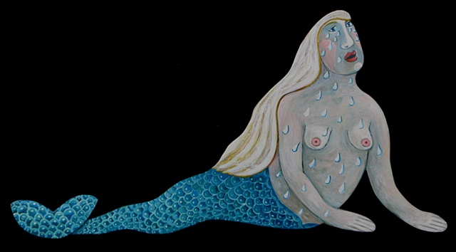Mermaid crying tears to fill her ocean