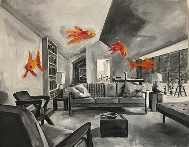 acrylic on panel of interior with fish