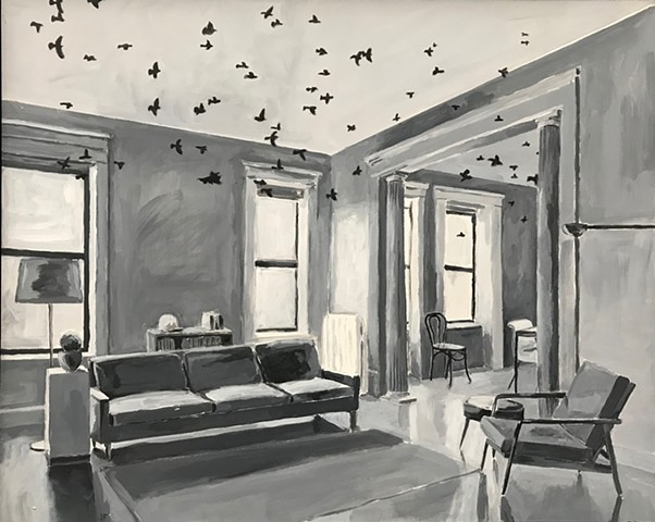 acrylic on panel of interior with animals