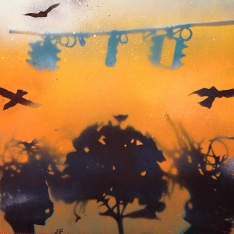 Used stencil to create image with spray paint