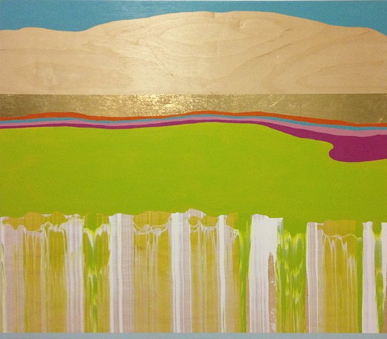 Michele Kishita, landscape, abstract, green, gold, painting, acrylic, Japanese, graphic, wood