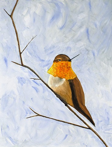 acrylic, painting, bird, hummingbirds