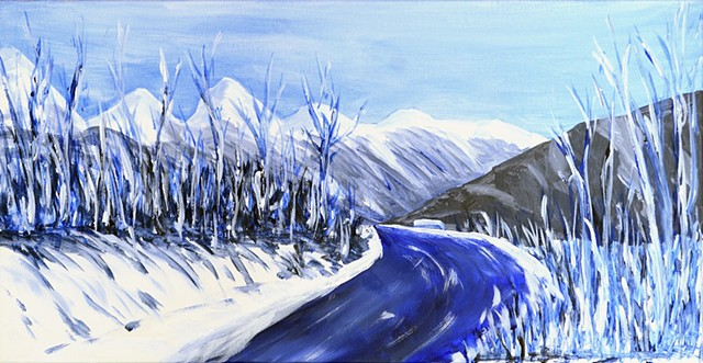 #art, #acrylic #winter, #mountains, #landscape