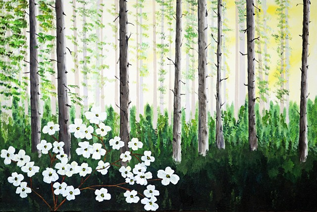 Nature, forest, dogwood, flowers, trees