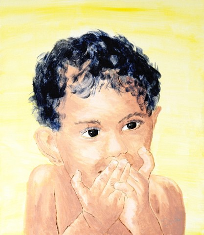 child, acrylic, painting, girl