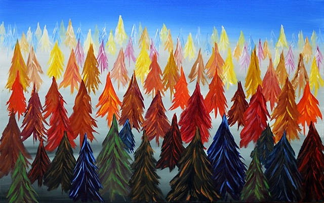 painting, acrylic, spruce, forest, trees