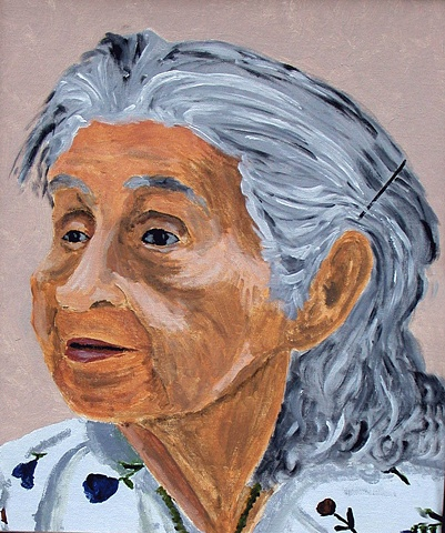 Prtrait of Annie Jim  of the Samahquam First Nations when she was already over 90 years of age.