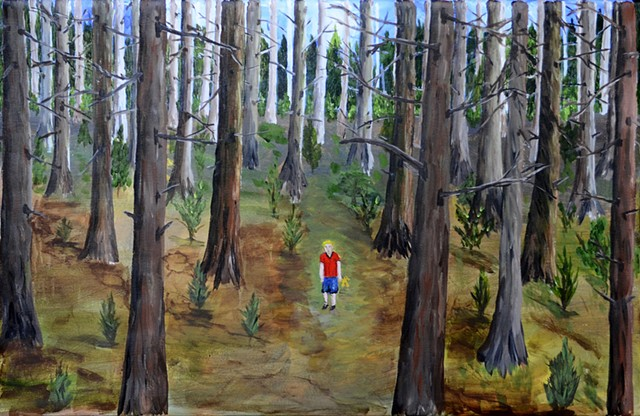 trees, boy, lost, woods, nature, forest