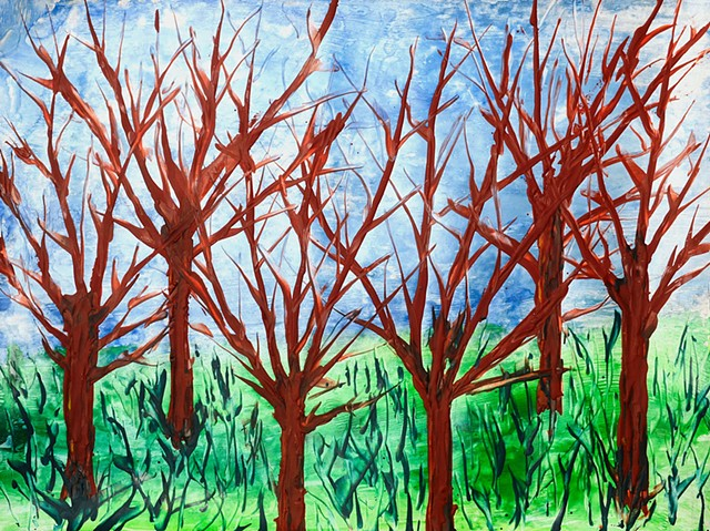 forests, art, encaustic, nature