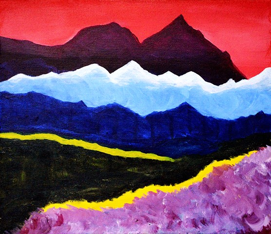 Landscape, abstract, painting, acrylic. colours