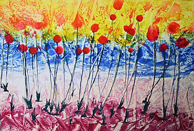 Poppies, field, flowers, encaustics, Bees wax