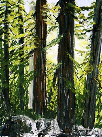 Nature, trees, sunrise, canyon, painting, acrylic