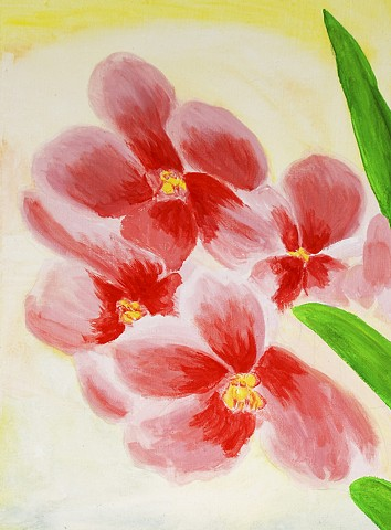 acrylic, orchid, flower