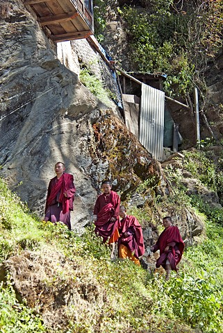 Bhutan,. monks, mountains, retreat